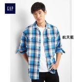 Gap男裝 舒適純棉斜紋法蘭絨長袖襯衫 864645-航天藍