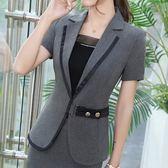 7219-JK優雅V領拼接腰釦OL短袖西裝外套~美之札