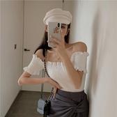 一字領上衣 一字肩上衣女短款性感緊身白色T恤2020年新款夏皺摺顯瘦短袖ins潮 嬡孕哺