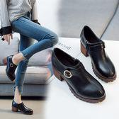 一件85折免運--粗跟高跟鞋女秋季2018新款英倫風復古小皮鞋正韓百搭厚底中跟單鞋