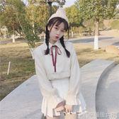 秋裝女裝韓版寬鬆蝴蝶結翻領喇叭長袖襯衣條紋學生襯衫女 辛瑞拉