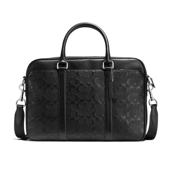COACH F72230 男款公文包雙C紋印花斜挎手提包黑色