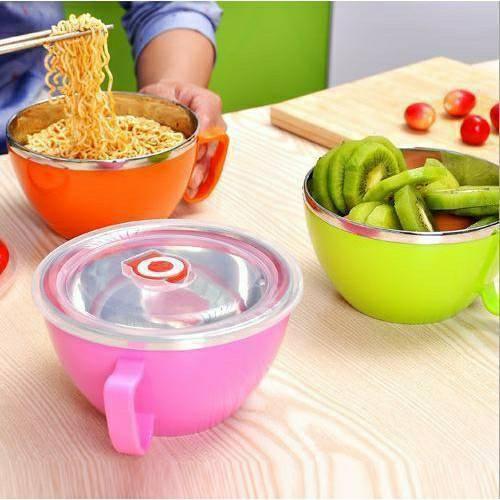 韓式304不鏽鋼碗 附蓋泡麵碗 帶蓋泡麵杯 學生便當 飯碗 湯麵碗 泡麵碗 隔熱 餐盒
