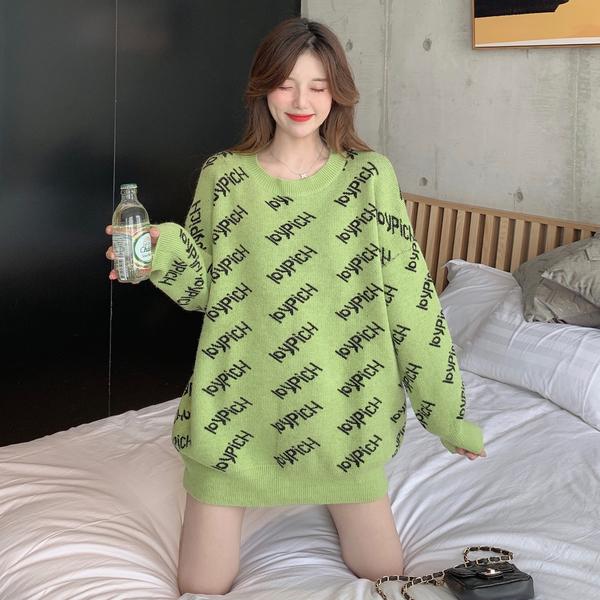 VK旗艦店 韓國風寬鬆甜美慵懶字母毛衣長袖上衣