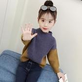 女童毛衣秋裝春秋新款兒童中大童洋氣上衣兒童拼色長袖針織衫