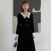 金絲絨洋裝 秋冬金絲絨法式復古赫本小黑裙V領收腰顯瘦長袖打底氣質連身裙女 芊墨 新品
