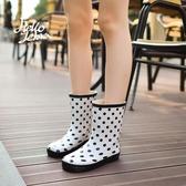 HelloZebra時尚雨靴韓國中筒成人可愛水靴膠鞋防水女士水鞋雨鞋女