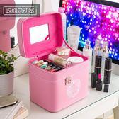 大容量化妝包雙層多功能大號手提簡約化妝品箱多層女特大號收納盒  良品鋪子