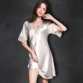 睡裙 睡衣女夏季薄款真絲短袖蕾絲正韓性感絲綢寬鬆大碼冰絲睡裙家居服-Ballet朵朵
