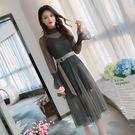 VK精品服飾 韓系淑女百搭吊帶裙顯瘦荷葉袖網紗套裝長袖裙裝