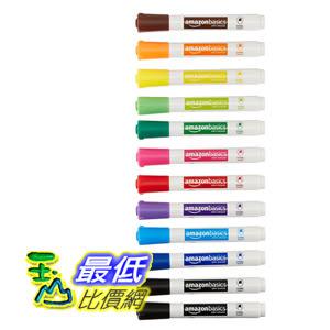 [106美國直購] AmazonBasics 彩筆 Low-Odor Dry Erase Markers - Chisel Tip - 12 Pack (Assorted Colors)