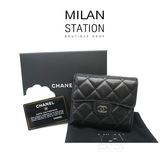 【台中米蘭站】CHANEL COCO黑色羊皮三折扣式 短夾