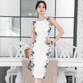 夏裝新款女韓版OL氣質輕熟風無袖修身拼接蕾絲包臀開叉洋裝 至簡元素
