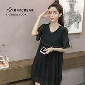 娃娃裝--優雅飄逸低調奢華綁繩荷葉袖釘珠V領短袖雪紡上衣(黑XL-3L)-U521眼圈熊中大尺碼