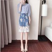 套裝  新款條紋襯衫短袖牛仔蕾絲半身裙兩件套套裝時尚女裝