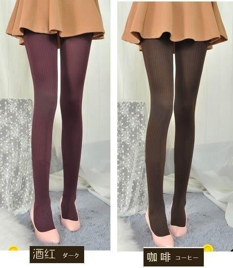 ★草魚妹★H197褲襪天鵝絨顯瘦美腿豎條紋百搭打底襪絲襪褲襪子,售價160元