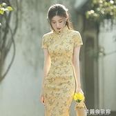 中國風洋裝 改良旗袍2021年新款年輕款小清新日常可穿修身中國風連衣裙女夏 快速出貨