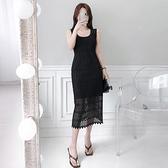 無袖洋裝小禮服 2021夏裝新款韓版氣質圓領無袖背心裙中長款鏤空蕾絲包臀連身裙女