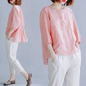早秋裝文藝大碼女裝微胖mm遮肚上衣寬鬆七分袖棉麻刺繡襯衫娃娃衫