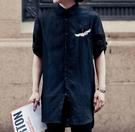 FINDSENSE品牌 男 時尚 街頭 潮 中國風 鶴 刺繡 七分袖 薄款襯衫