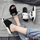 沙灘鞋 拖鞋女夏外穿2021新款防滑一字拖情侶沙灘韓版潮流時尚網紅涼拖鞋 愛丫 免運