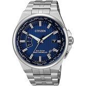【台南 時代鐘錶 CITIZEN】星辰 光動能電波 商務風格時尚腕錶 CB0160-51L 藍/銀 42mm