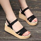 厚底涼鞋  新款厚底松糕涼鞋女坡跟羅馬女鞋粗高跟休閑學生涼鞋