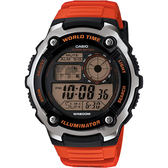 CASIO 卡西歐 10年電力世界時間手錶-橘 AE-2100W-4AVDF / AE-2100W-4A