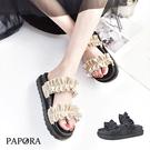 拖鞋.波浪小厚底拖鞋【K4240】黑/杏(偏小)