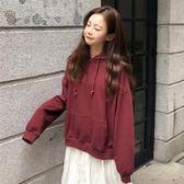 秋季女裝2018新款韓版寬鬆純色連帽加厚pp home超火長袖衛衣外套