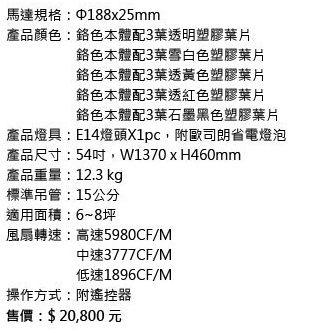 【燈王的店】《VENTO芬朵精品吊扇》54吋吊扇+燈具+遙控器☆ 三葉草系列 54CLOVER