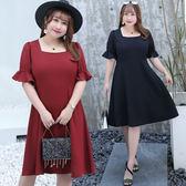 中大尺碼~立體剪裁修身短袖連衣裙(XL~4XL)