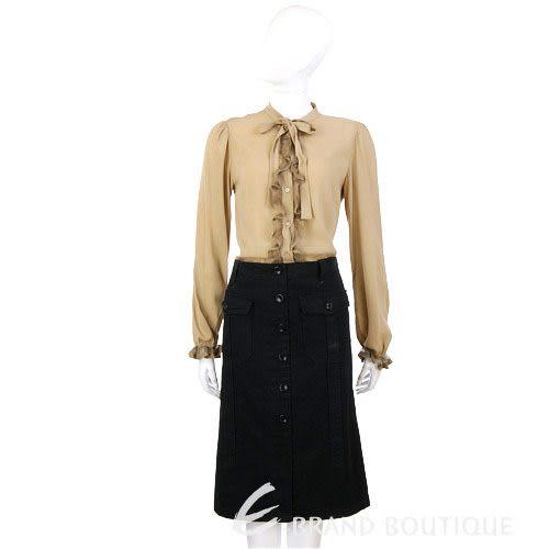 HACHE 黑色排釦口袋及膝裙 0550094-01