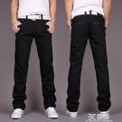 秋季新款黑色牛仔褲男士直筒修身青年韓版潮流寬鬆休閒百搭長褲子 3C優購