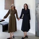 復古法式長袖連身裙女秋裝2020年新款西裝裙春秋顯瘦氣質炸街裙子