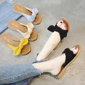 拖鞋女2018夏季新款韓版外穿一字涼拖鞋百搭學生蝴蝶結露趾沙灘鞋