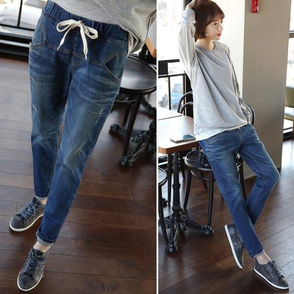 漫步生活☆[EL-B6311] 刷白哈倫牛仔褲(F~5XL)