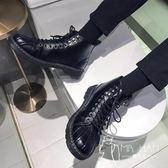 马丁靴  皮鞋 秋季馬丁靴男韓版潮流高幫皮鞋男學生英倫百搭中幫男鞋貝殼頭短靴
