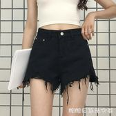 夏季女裝新款韓版時尚毛邊牛仔短褲高腰顯瘦百搭闊腿褲學生熱褲潮糖糖日系森女屋