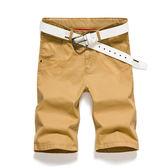 夏季休閒短褲男士五分褲青年修身中褲純棉沙灘褲夏天5分褲薄短褲    蜜拉貝爾