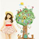 壁貼 DIY創意無痕 牆貼 貼紙【半島良品】-ABC1057-卡通動物大樹王國60x90
