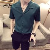 網紅很仙的短袖男襯衫發型師潮流個性帥氣薄寸衫潮男痞帥半袖襯衣 陽光好物