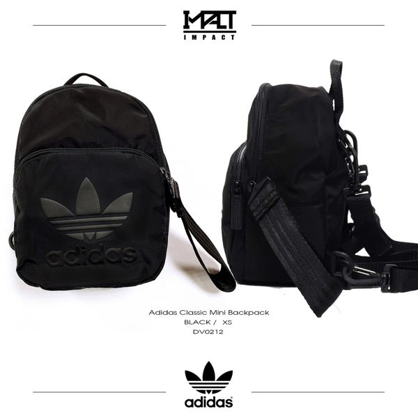 IMPACT Adidas Classic Mini Backpack 黑 尼龍 迷你 後背包 三葉草 DV0212