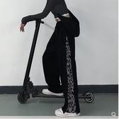 黑色褲子女2020新款秋冬ins豹紋排扣長褲寬鬆直筒寬管褲休閒褲潮