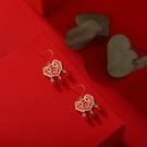 新年耳飾 中國風紅色長命鎖耳釘2021年新款潮韓國氣質網紅新娘耳環過年【快速出貨八折搶購】