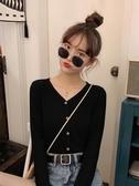 長袖薄款針織衫女ins潮秋季2019新款秋裝打底修身V領開衫黑色上衣 米娜小铺