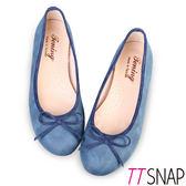 娃娃鞋-TTSNAP MIT細緻羊紋蝴蝶結平底鞋 藍/灰