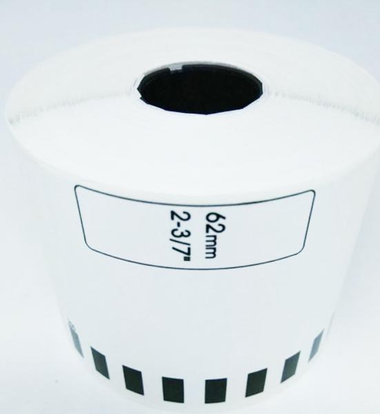 DK-22205 副廠連續標籤帶 (白底黑字) 62mm*30.48M 塑芯 DK22205 標籤紙 不含支架