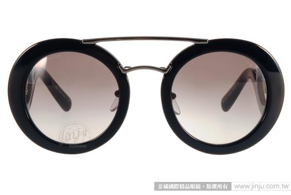 PRADA太陽眼鏡 PR13S 1AB0A7 (黑-銀) 華麗復古風造型圓框款 # 金橘眼鏡