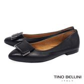 Tino Bellini 簡約皮革方釦舒足平底鞋 _ 黑 A69054D